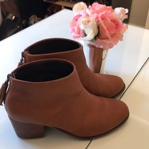 TOMS brown ankle booties with tassels
